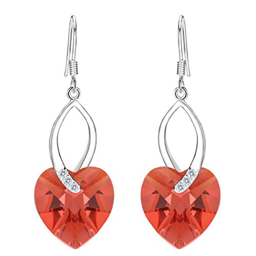 EleQueen 925 Sterling Silver CZ Love Heart French Hook Dangle Earrings Orangered Made with Swarovski Crystals -