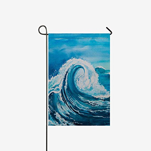 InterestPrint Watercolor Beach Blue Sea Water Wave Garden Fl