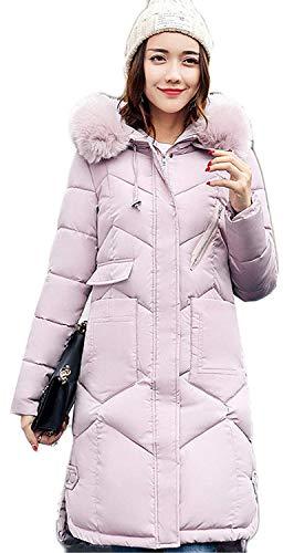 Cappotti Anteriori Monocromo Invernali Yasminey Di Alta Donna Con Rosa Collo Cappuccio Giovane Cerniera Tasche Alto Manica Lunga Caldo Trench Qualità Piumino Giacca FSSIwnOP