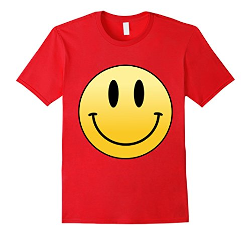 Mens Mr Happy Smiley Face - T-Shirt Small Red - Happy Face T-shirt