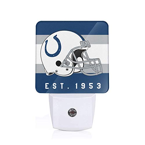 Gdcover Indianapolis Colts Helmet Design Plug-in LED Night Light with Dusk-to-Dawn Sensor for Bedroom Hallway