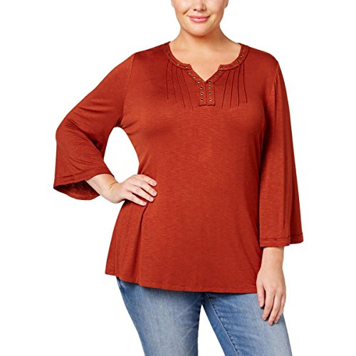 Style & Co. Womens Plus Embellished Bell Sleeves Tunic Top Orange 1X (Style & Spandex Tunic Co .)