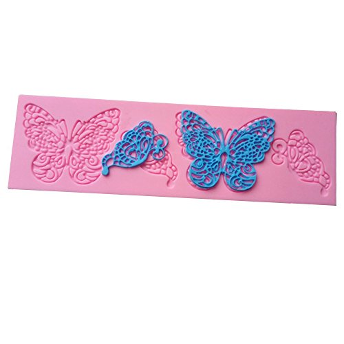 SPHTOEO 2 PCS Butterfly Shape Silicone Mold Lace Cake Molds Fondant Tools Cake Decorating Tools Silicone Chocolate Icing Border Sugar Mold