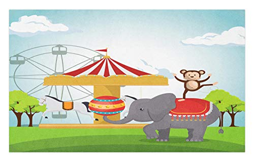 (Ambesonne Carnival Doormat, Monkey and Elephant in a Circus Theme Park Festive Costumes Details Celebration, Decorative Polyester Floor Mat with Non-Skid Backing, 30 W X 18 L Inches,)
