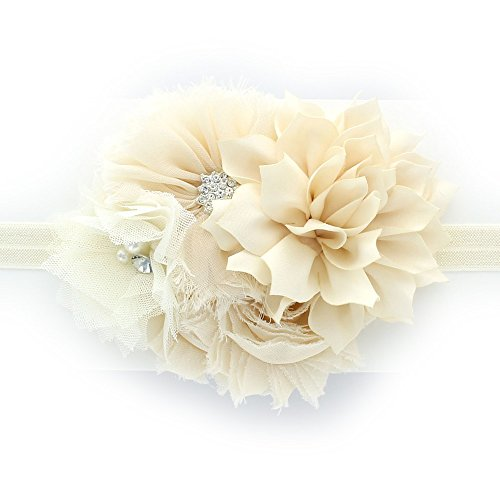 (My Lello Baby Headband Shabby Fabric Flower Cluster Stretchy Elastic Ivory )