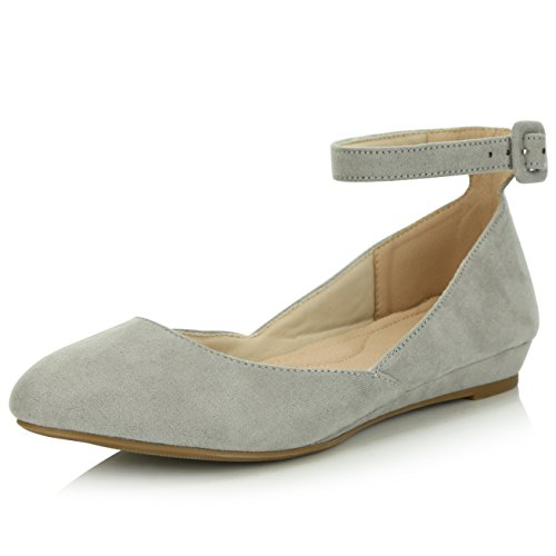 - DailyShoes Women's Fashion Adjustable Ankle Strap Buckle Pointed Toe Low Wedge Flat Shoes, Grey Suede, 6.5 B(M) US