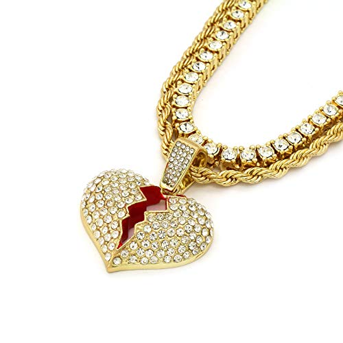 L & L Nation Mens 14k Gold Plated Hip Hop Cz Broken Heart 4mm 24