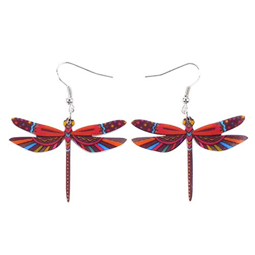 Sweet Dangle DRAGONFLY Earrings Acrylic Long Drop For Girls Women Jewelry