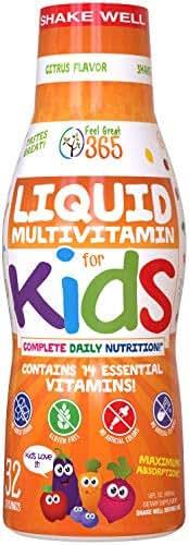 Children's Liquid Multivitamin by Feel Great 365 (32 Day Supply)   Daily Value of 14 Vitamins   Natural Kids Supplement ● Non-GMO, Sugar-Free, Gluten Free, Methyl B-12 Vitamin D3, Great Fruity Taste