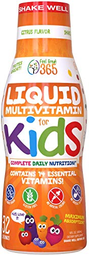 Children's Liquid Multivitamin by Feel Great Vitamin Co. (32 Day Supply) | Daily Value of 14 Vitamins | Natural Kids Supplement ● Non-GMO, Sugar-Free, Gluten Free, Methyl B-12 Vitamin D3, Great Taste