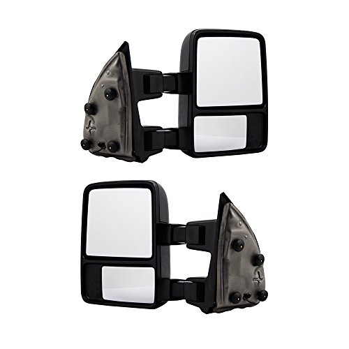 MAPM - Textured Black Passenger/Driver Side Towing Mirrors Manual Amber Signal for Ford Super Duty 250/350/450 08-16 Pair - 8C3Z17682BC-8C3Z17683BC