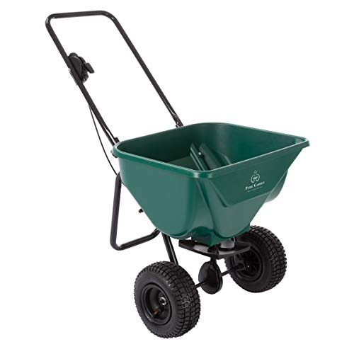 Spreader Lawn Drop (Pure Garden 50-LG1081 Lawn and Garden Spreader-66 Pound Capacity Walk Behind Rotary Broadcast Dispenser for Fertilizer Grass Seed, Sand and Salt)