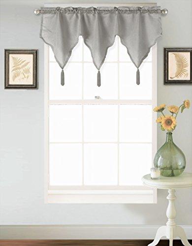 (GorgeousHomeLinen (SARAH) 1 Straight Ascot Small Silk Rod Pocket Elegant Waterfall Valance with Decorative Tassels, 55
