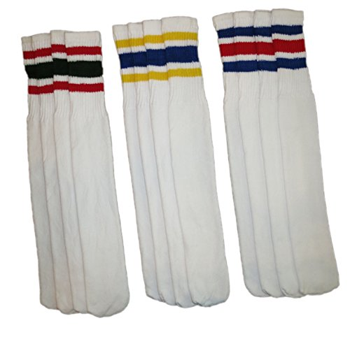 Rocky Men's Athletic Striped Tube Socks Old School 6 Pairs 24