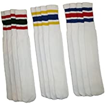 "Rocky Men's Athletic Striped Tube Socks Old School 6 Pairs 24"" Length"