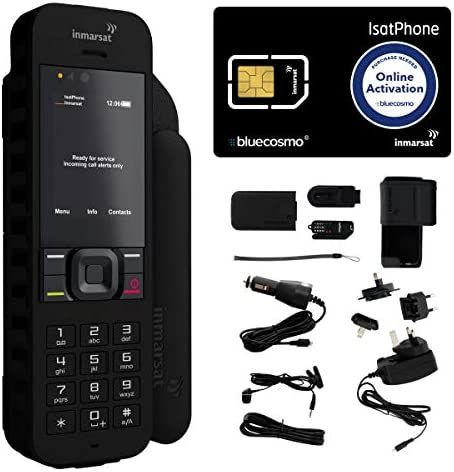 BlueCosmo Inmarsat IsatPhone 2.1 Satellite Phone Kit (SIM Included) – Global Coverage – Voice, SMS, GPS Tracking, Emergency SOS – Prepaid and Monthly Service Plan Options