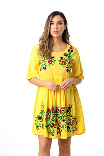 Riviera Sun 21824-YEL-L Rayon Crepe Short Dress with Multicolored Embroidery Yellow
