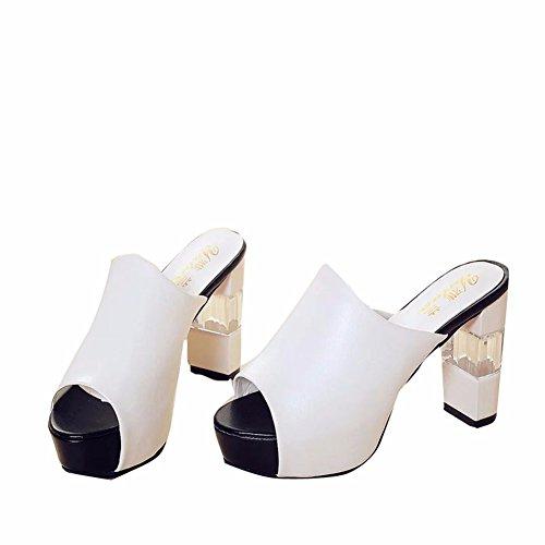 Yuch Profesionales Sandalias Zapatillas Irregular De White Pu Elegante Dama Con 1g1qwr