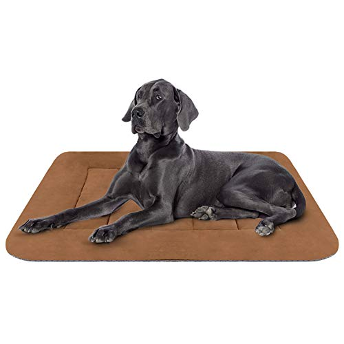 Hero Dog Large Dog Bed Crate Pad Mat 42 Inch Washable Matteress Anti Slip Cushion for Pets Sleeping Coffee L