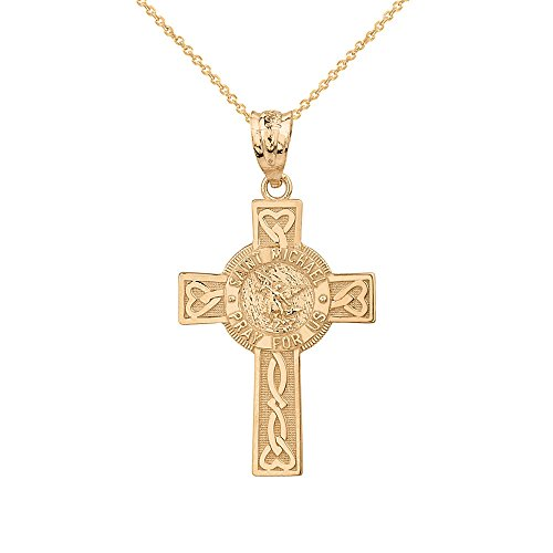 Solid 10k Gold Saint Michael Pray For Us Celtic Cross Pendant Necklace, - Saint Gold