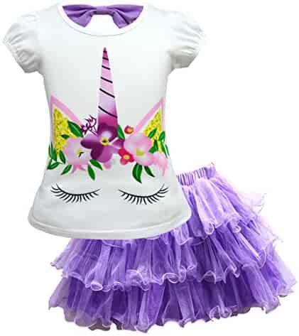 88872c5bb2d Toddler Kids Baby Girl Unicorn Top T-Shirt Lace Tutu Skirt Outfits Set  Clothes