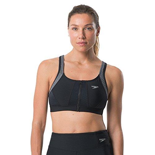 Speedo Women's Precision Pleat Zip Top, Speedo Black, Size 4 ()