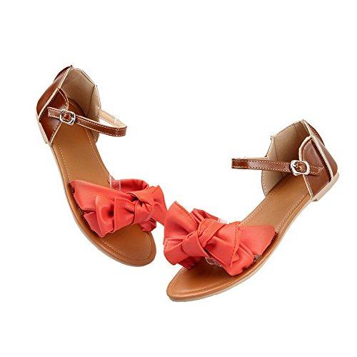 Aalardom Mujer's Open-toe Low-heels Materiales Suaves Solid Hebilla Sandalias Naranja