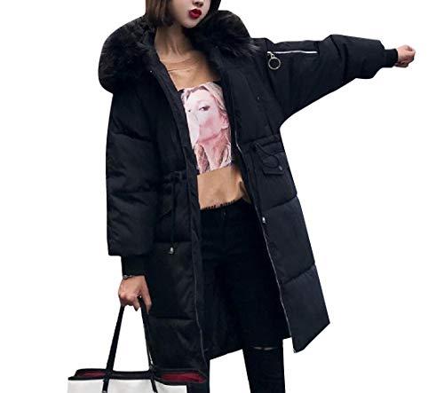 Rkbaoye Cappuccio Womens Fur Con Piumino Mid Collar Cappotto Nero Warm Long Brumal 4pqxUw14