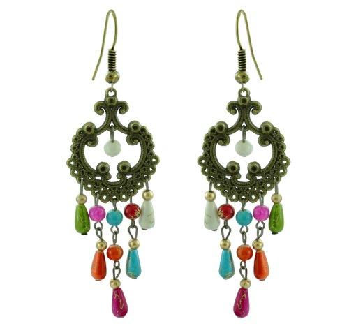 Boucles d'oreilles en laiton Chic-Net dames Boucles d'oreilles en cuivre pierres précieuses colorées