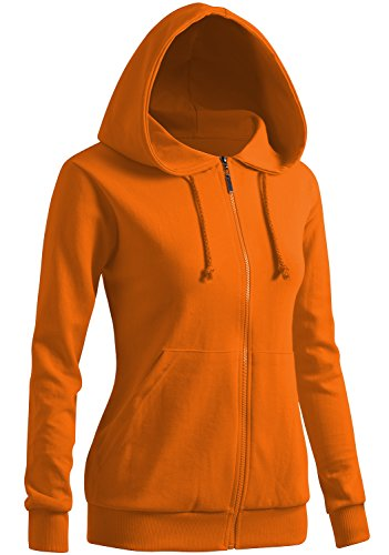 CLOVERY Women's Sport Long Sleeve Zipup Hoodie ORANGE US M / Tag M