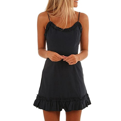 Clearance OVERMAL Women's Ruffles Mini Dress Camisole Backless Party Dress Sleeveless Spaghetti Straps Summer Dress (XL, Black) from Clearance OVERMAL