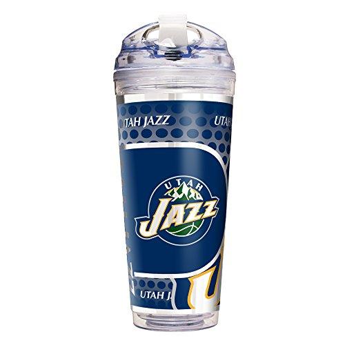 NBA Utah Jazz Double Wall Acrylic Travel Tumbler, 24-Ounce, Clear