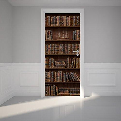 Door Wall Sticker Wooden Bookshelf With Antique Books   Peel U0026 Stick  Repositionable Fabric Mural