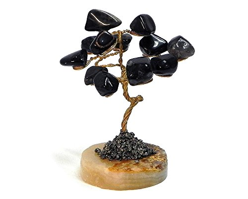 Mia Jewel Shop Tree of Life Natural Healing Crystal Tumbled Gemstone Decorative Ornament Figurine Reiki Money Tree Feng Shui Office Room Home Décor (Black Onyx) ()