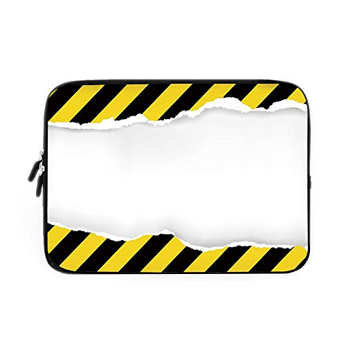 Construction Laptop Sleeve Bag,Neoprene Sleeve Case/Ripped Paper with Construction Sign Safety Warning Alert Framework Decorative/for Apple MacBook Air Samsung Google Acer HP DELL Lenovo Asus