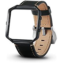 Fitbit Blaze Bands, elftear Leather Replacement Band Large Strap with Metal Frame for Fitbit Blaze Smart Fitness Watch