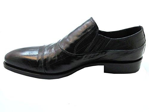 Redwood 39902 Mens Eel Skin Slip-On Dress Shoes in Black yKRJ2j