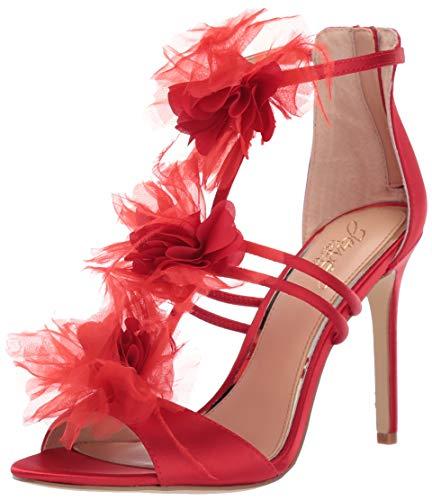 (Badgley Mischka Jewel Women's Dustine Heeled Sandal, red Satin, 10 M)