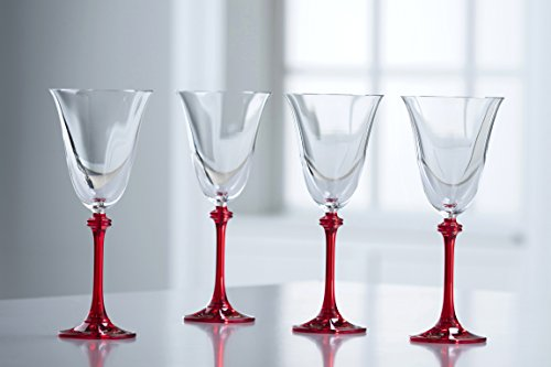 - Galway Crystal Liberty Goblets (Set of 4), Clear/Red