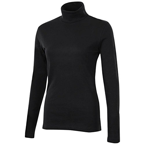 (Meister Roll Neck Shirt - Combed Cotton, Long Sleeve (for Women) - Black)