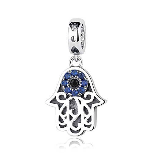 BISAER Hamsa Charm Hexproof Lucky Hamsa Hand Charm Bead 925 Sterling Silver Khamsah Hand Dangle Charms Beads Filled Blue Gemstones Evil Eye Charm Fits Bangle Bracelet and European Charms Bracelet
