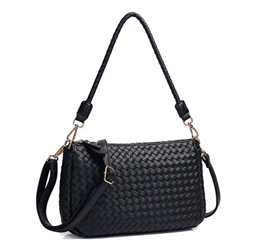 Bag Black Woven Hobo Leather - Jeelow Small Crossbody Hobo Bags Purses Shoulder Bags PU Leather For Women 2 Sets of Straps (Black)