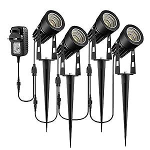 Garden Spotlights Mains Powered, B-right 4-in-1 LED Garden Lights 12V Low Voltage IP65 Waterproof Outdoor Garden Spike…