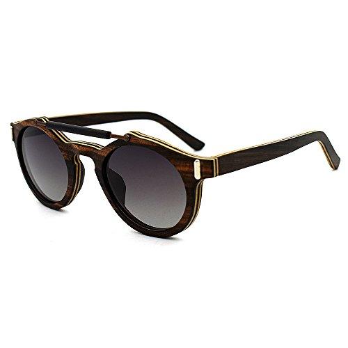 a Unisex Colores de Aclth polarizadas Lentes Hechas Mano de Gris Unisex de Gafas Madera protección Sol UV400 Azul Azul xggtq6wY
