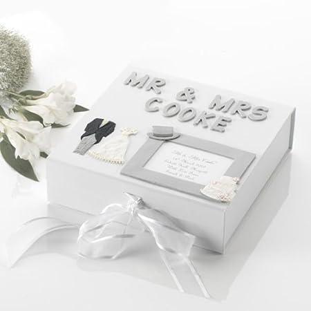 Personalised Handmade Wedding Memory Box Silver Large Silver ...