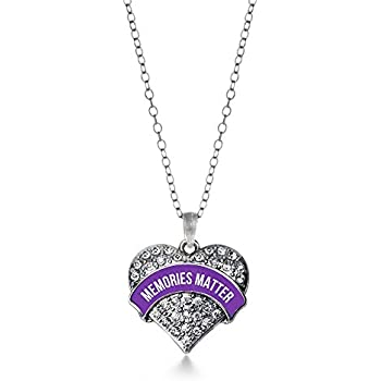 a5692c0da32 Inspired Silver Memories Matter Alzheimer's Awareness Pave Heart Charm  Necklace With Clear Crystal Rhinestones