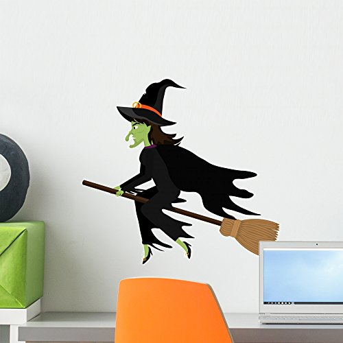 Wallmonkeys Witch Flying with Broomstick Wall Decal Peel