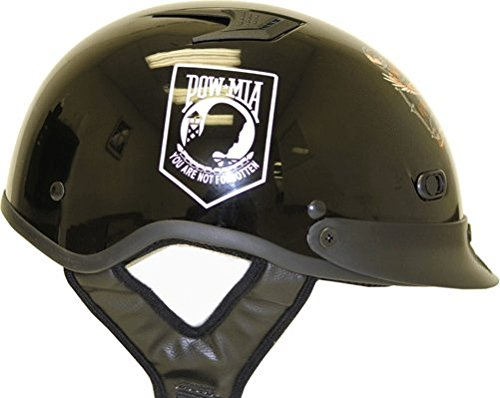 (DOT POW-MIA Vented Black Motorcycle Half Helmet with Visor (Size XL, X-Large) )