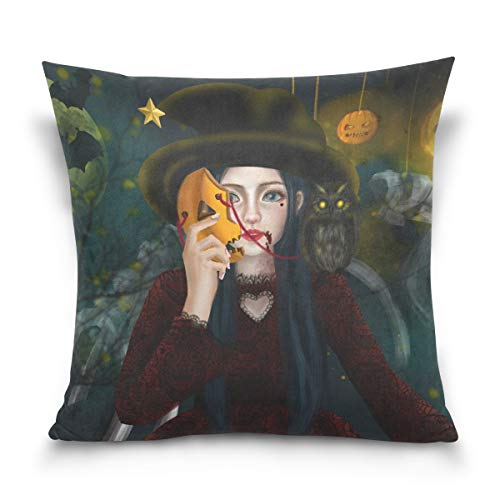Mr.XZY Square Throw Pillow Cases Halloween Witch Girl Wood Magic Pumpkin Lantern Mask Bat Moon Firefly Cushion Covers for Sofa Bedroom Car, 18x18 inch 201784 ()