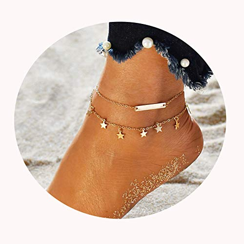 LANG XUAN Bar Boho Foot Chain Gold Star Adjustable Beach Layer Anklet for Women